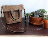 Pisgah Mini Fold-Over Purse in Bourbon Brown / Waxed Canvas Tote Bag / Zipper Purse / Crossbody Bag / Foldover Bag