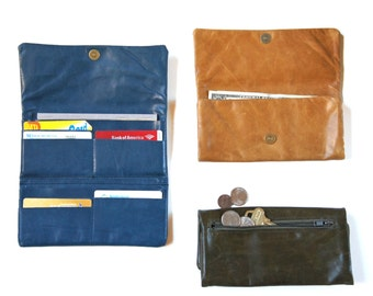 Fold-Over Wallet Soft Leather Earth Colors