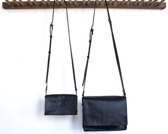 Messenger Bag - Two sizes - Italian Leather - Black