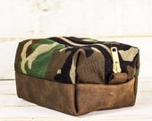 Dopp Kit | Camo + Brown Leather