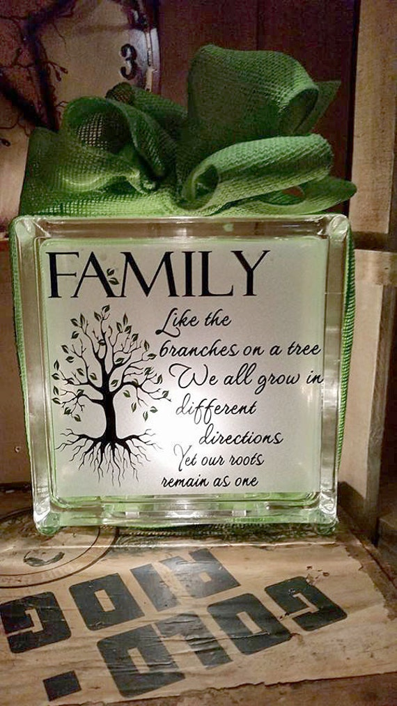 craft ideas for glass blocks family home decor mothers day glass nightlight family 6176