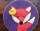 Custom Wall Art - Orange Fox on Grape with Flower