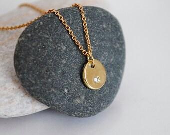 18k gold and diamond pendant necklace, tiny diamond necklace, recycled gold pebble pendant, genuine 2mm diamond, eco friendly, conflict free