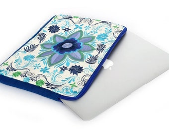 Mexican Flower Laptop Case  Embroidered Pattern and Natural Open Weave Cotton (BG063W-38C6)
