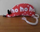 Hand Made Christmas Catnip Mouse - Red Ho Ho Ho design - Cat Toy