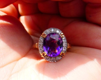 Vintage 14k Single cut Diamond halo Amethyst ring 6.26