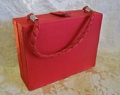 Red Box Purse Vintage 80s Lancome Fabric Hard Rectangle with Wrist Handle Snap Out Sides Traveling Jewelry Box Makeup Dresser Trinket Box