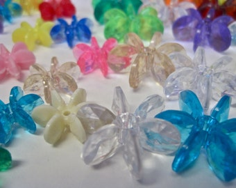 Plastic Flower Beads Vintage LOT of 90 Clear and Opaque 2 SIZES Snowflake Starflake Star Shape Multi Colored STACKABLE Modernist Flowers