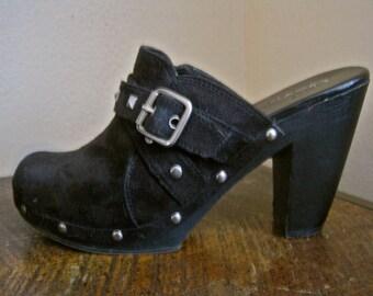 "Western Mules Slides Shoes Black Faux Suede Silver Studs Buckles SIZE 8 EURO 40 Mia Platform 3"" Wood Heel Vintage 90s EXCELLENT Condition"