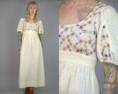 70s Young Innocent Designer Floral Embroidered Ivory Cotton Empire Waist Prairie Festival Dress