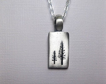 Silver Tree Necklace - Pine Tree - Nature Jewelry - Friendship - Bar Necklace - Modern