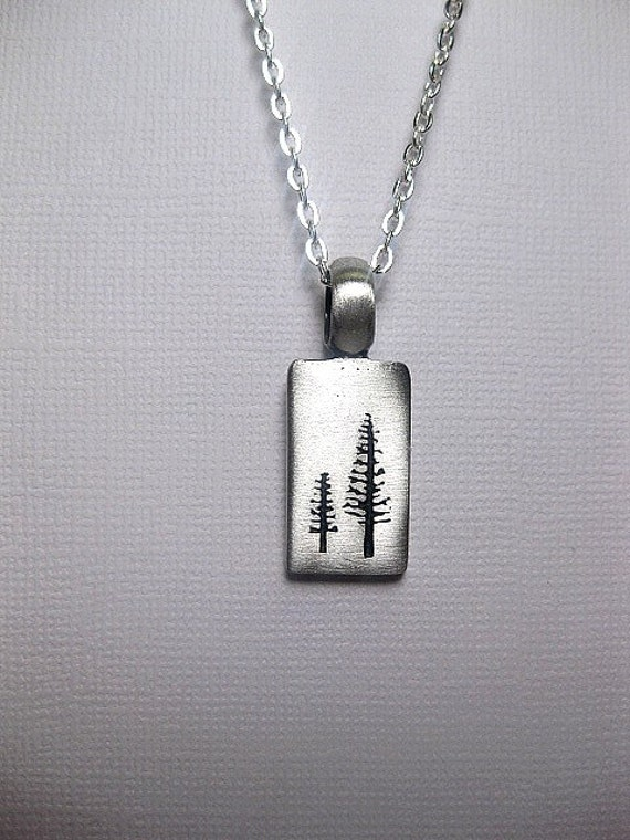 Silver Tree Necklace Pine Tree Nature Jewelry Friendship