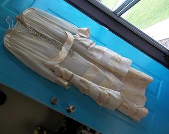 1920 Era Downton Abbey Style Wedding Dress...SILK CHIFFON...Silk ribbon...Original Belt... Matching Slip