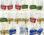 SPECIAL HOLIDAY SALE - Fun Gift Package Dangle Earrings - Price Reduced!!!, Handmade Original Christmas Hanukkah Festive Girls Teens Ladies