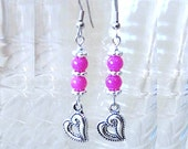 Stacked Pink Jade & Silver Heart Charm Dangle Earrings, Handmade Original Fashion Jewelry, Valentine's Day Romantic Simple Elegant Gift Idea