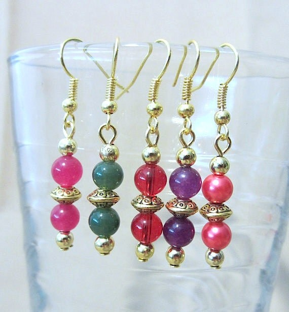 Gold Disc & Double Glass Bead Dangle Earrings, Handmade Original Design Fashion Jewelry, Classic Elegant Simple Style, Bright Luxury Colors