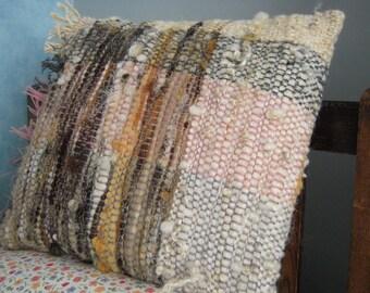 "Hand Woven Cushion  -  Natural Dyed Wool Pillow Cover - 14"" x 15"" Pink, grey, cream, yellow, handspun"