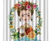 Frida Kahlo Shower Curtain - Frida Mexican Folk Art Shower Curtain - Mexican Art - Frida Shower Curtain -  Bath Decor - Frida Kahlo Decor