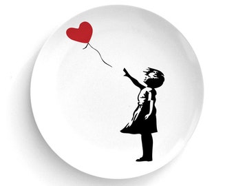 Bansky Graffiti Street Art - Banksy Balloon Girl Melamine Plate - Melamine Plate - Banksy Graffiti Artist - Dinner Plate - Home Decor
