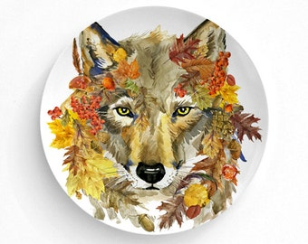 Plate, Melamine Plate, Decorative Plate, Plates, Wall Decor, Home Decor, Dinner plate, Autumn, Animals, Thanksgiving Decor, Pumpkin, Fall