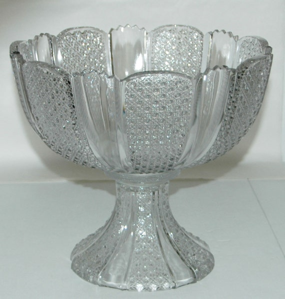 """Antique 2 pc PATTERN GLASS PUNCH Bowl Round w/ Scalloped Rim, Great Ring, Measures 10 3/4""""di x 5 1/4""""h; Stand: 4 3/4""""h x 6 1/4""""di @ Base"""