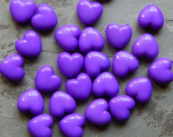 10mm Purple Acrylic Heart Beads, 25 PC (INDOCO9)