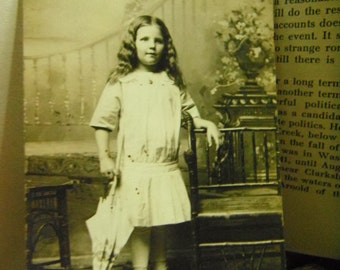 Early 1900's RPPC - Real Photo Postcard - Pretty Little Girl Posing With Umbrella
