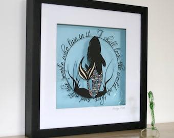 Original Love The World Mermaid Papercut • The Little Mermaid • Fairytale Paper Cut Art • Wall Art • Hand Cut Art Quote • One of a Kind