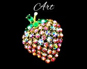 Vintage Designer ART Strawberry Brooch, Aurora Borealis, Domed Red AB Rhinestone, Green Rhinestone, Lapel Brooch , Gift For Her