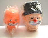 Vintage 80s large Hobo Sad Clown and happy clown doll head Collectible Vintage NEW OLD STOCK.
