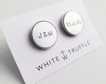 Handstamped Initial and date Cufflinks / silver engraved mens accesories ['pp