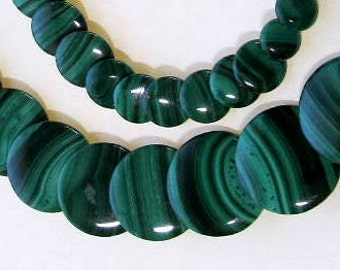 Green Malachite Beaded Necklace, Semi-Precious Gemstones, Sterling Silver Elephant Clasp, Designer Quality