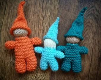 Waldorf inspired hand knitted gnome. Natural .