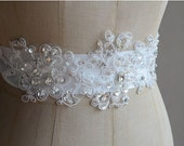Beaded Lace Applique with Pearls, Rhinestones  for Bridal Sash, Veils ,Headpiece
