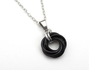 Black love knot pendant, small circle necklace, black chainmail jewelry