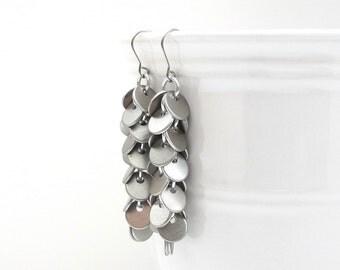 Chainmail earrings, shaggy earrings, chainmail jewelry, long silver earrings, brushed aluminum confetti earrings