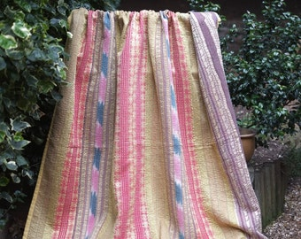 Yellow Kantha, Vintage Kantha quilt ,Regency stripe Kantha, Striped Patchwork Throw, Kantha Blanket,  Sari Quilt,