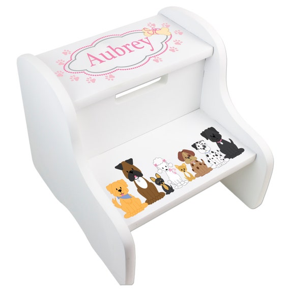 Personalized Puppy Dog Stool Child S Custom Step By Mybambino