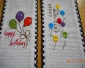 cross stitch bookmark set of 2 HAPPY BIRTHDAY bookmarks balloon bookmarks aida riband bookmark
