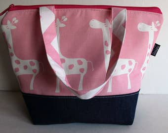 Kids Insulated Lunch Bag, Zipper Top, Nylon Food Safe Lining, Girls Lunch Bag, Pink Giraffe Fabric Lunch Bag, Ready To Ship