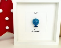 Mr Men framed personalised minifigure .  Mr Happy, Strong, Bump, funny, perfect. Box Frame.
