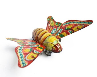 vintage tin, friction toy, butterfly toy, litho Japan from Elizabeth Rosen