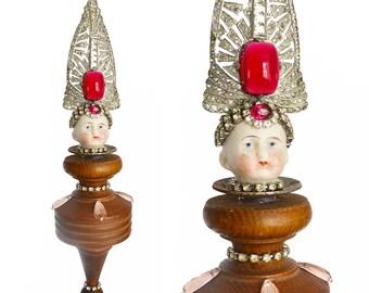 mixed media assemblage art doll, Grand Dutchess number 86, an original art doll ornament by Elizabeth Rosen