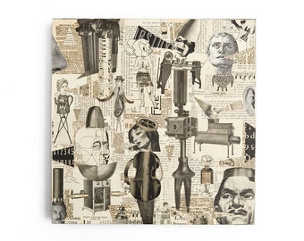 conversation piece, an original paper collage on wood, black and white art, by Elizabeth Rosen