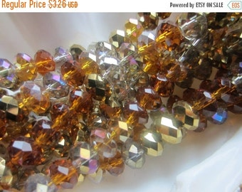ON SALE Crystal Rondelle Bead Mix 8mm x 5mm Amber Glow 1 Strand