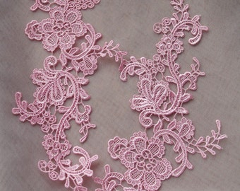 pink lace applique, green floral lace applique, multiple colors available