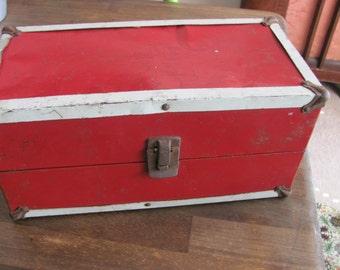 "Vintage 1950's Red Metal Doll Storage Steamer Trunk Case Brass Accents 13""X6""X6"""