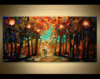 Original Palette Knife textured Lights in the Park painting  on canvas by Paula Nizamas