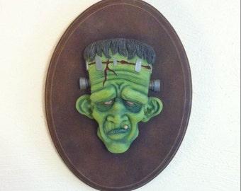 Frankenstein Wall Hanging Face Sculpture