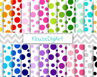 Rainbow and Pastel Party Polka Dots Printable Digital Paper Pack 300 DPI JPEG for Personal and Small Commercial Use - 0162